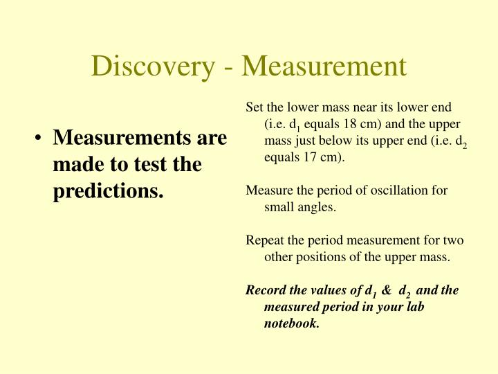 Measurements are made to test the predictions.