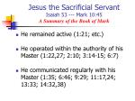 jesus the sacrificial servant isaiah 53 mark 10 45 a summary of the book of mark1