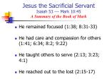jesus the sacrificial servant isaiah 53 mark 10 45 a summary of the book of mark2