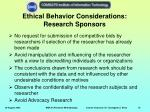 ethical behavior considerations research sponsors
