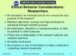 ethical behavior considerations researchers