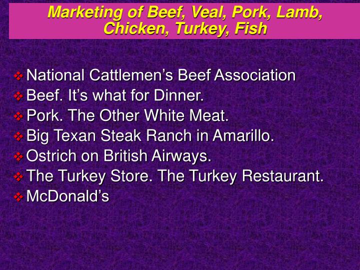 Marketing of Beef, Veal, Pork, Lamb,