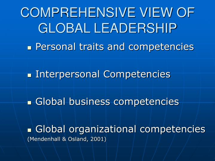 COMPREHENSIVE VIEW OF GLOBAL LEADERSHIP