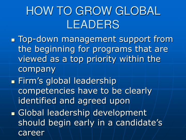 HOW TO GROW GLOBAL LEADERS