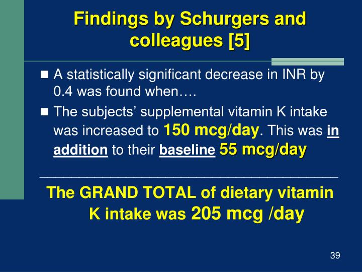 Findings by Schurgers and colleagues [5]