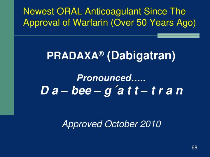 Newest ORAL Anticoagulant Since The Approval of Warfarin (Over 50 Years Ago)