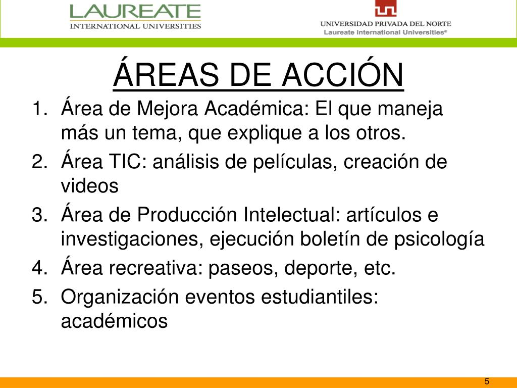 ÁREAS DE ACCIÓN