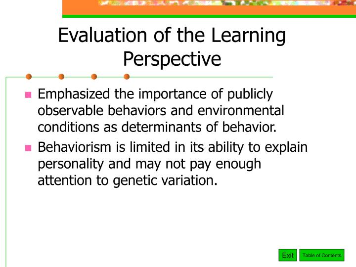 Evaluation of the Learning Perspective
