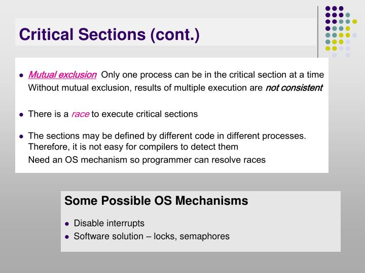 Critical sections cont