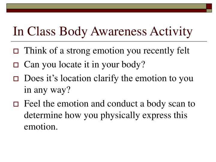 In Class Body Awareness Activity