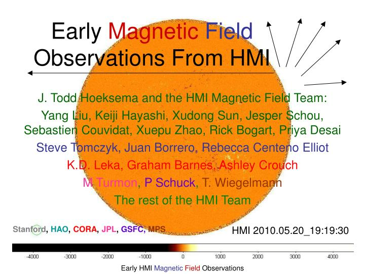 early magnetic field observations from hmi n.