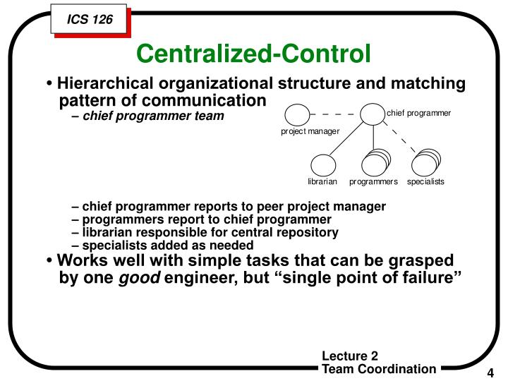 • Hierarchical organizational structure and matching pattern of communication