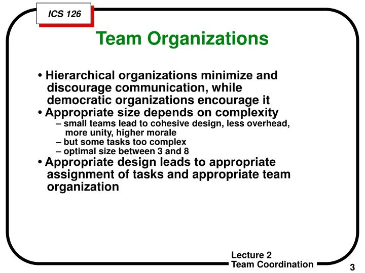 • Hierarchical organizations minimize and discourage communication, while democratic organizations encourage it