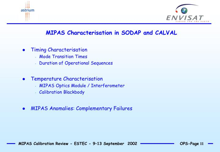 MIPAS Characterisation in SODAP and CALVAL