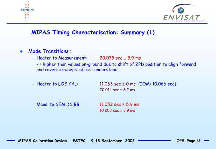 MIPAS Timing Characterisation: Summary (1)
