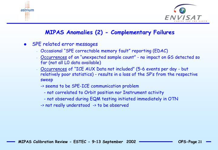 MIPAS Anomalies (2) - Complementary Failures