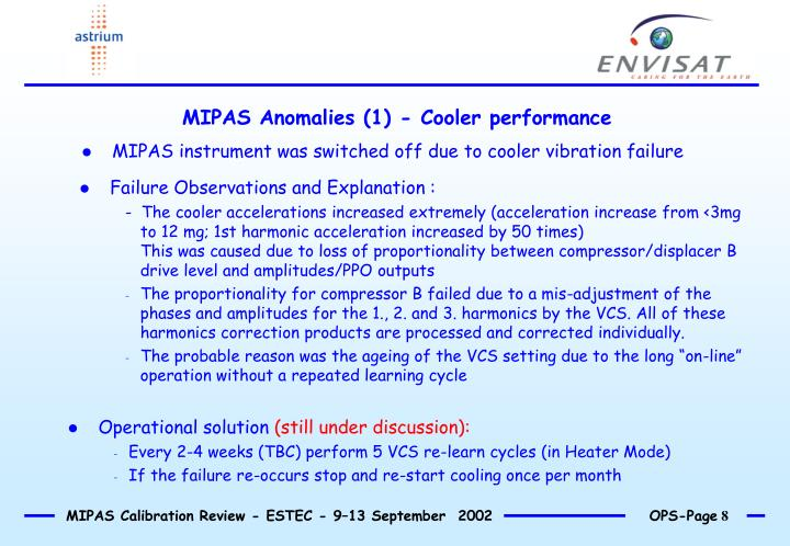 MIPAS Anomalies (1) - Cooler performance
