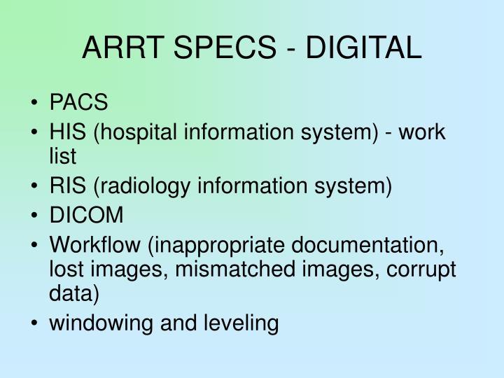 ARRT SPECS - DIGITAL