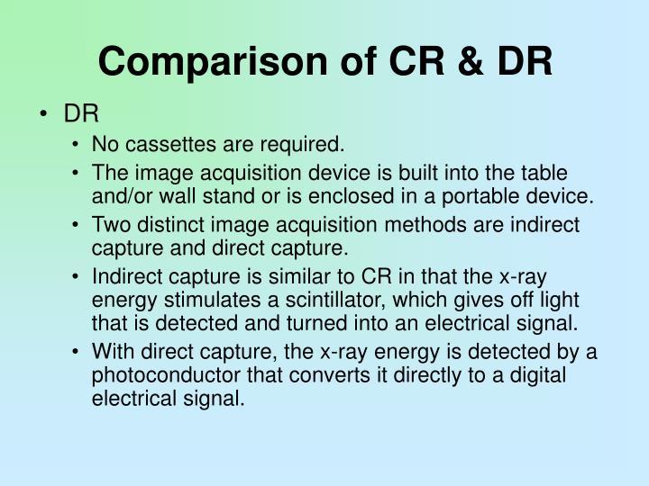 Comparison of CR & DR