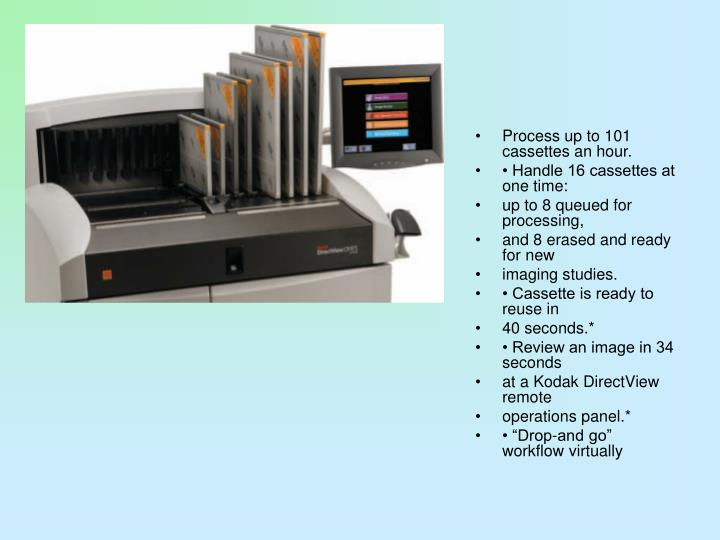 Process up to 101 cassettes an hour.