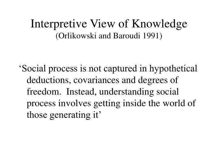 Interpretive View of Knowledge
