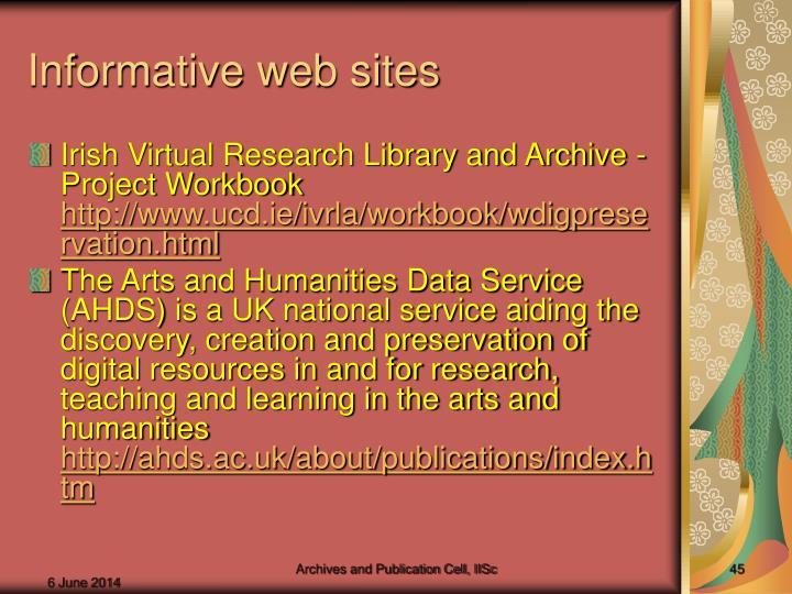 Informative web sites