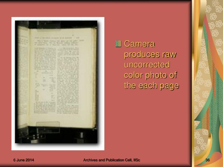 Camera produces raw uncorrected color photo of the each page