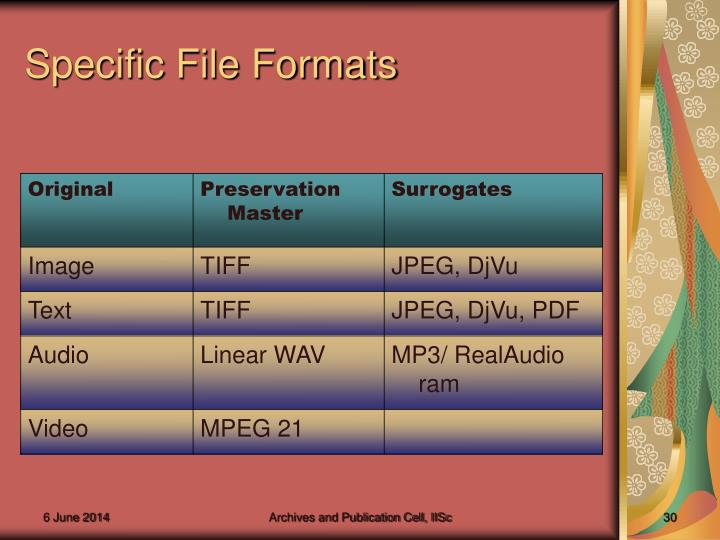 Specific File Formats