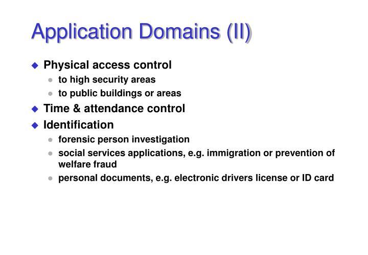 Application Domains (II)