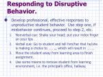 responding to disruptive behavior