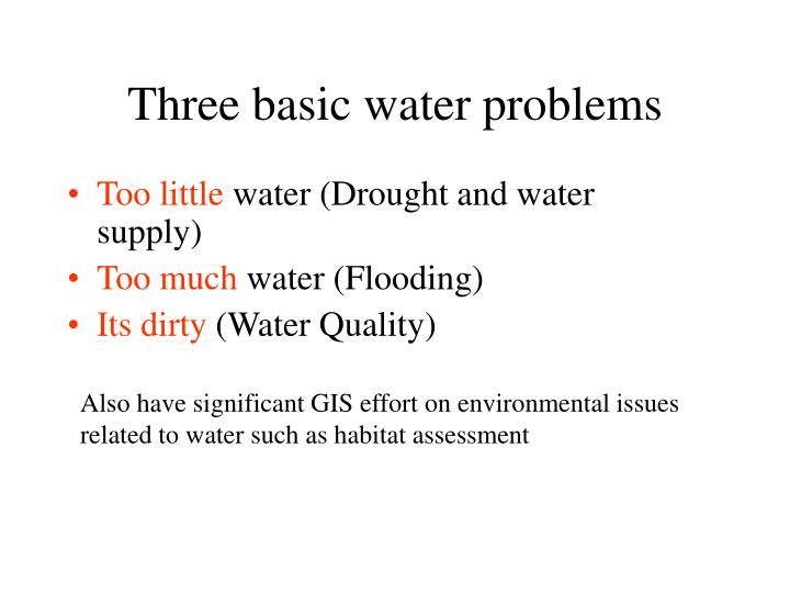 Three basic water problems