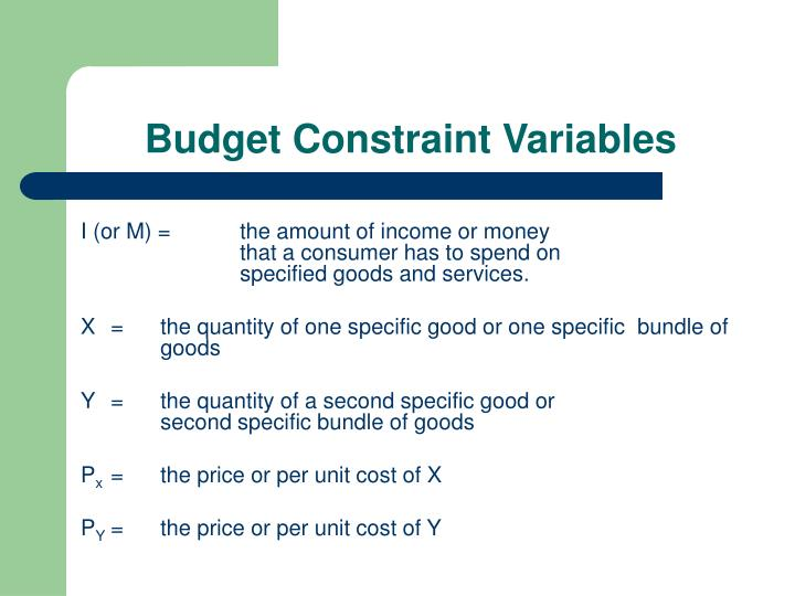 Budget Constraint Variables