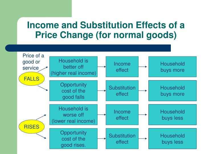 Income and Substitution Effects of a Price Change (for normal goods)