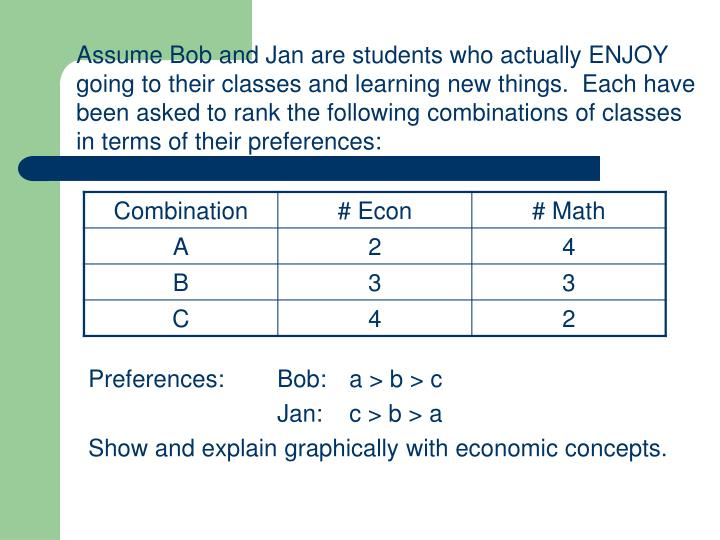 Assume Bob and Jan are students who actually ENJOY going to their classes and learning new things.  Each have been asked to rank the following combinations of classes in terms of their preferences: