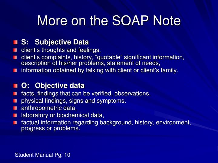 More on the SOAP Note