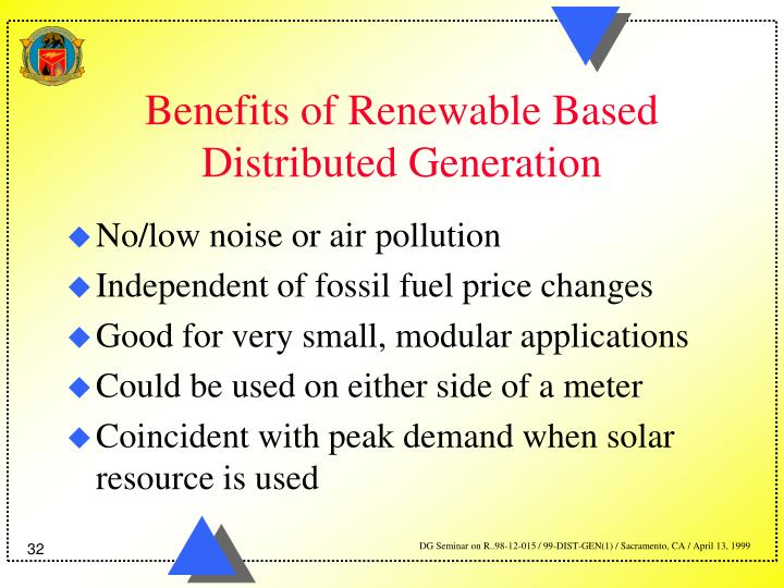 Benefits of Renewable Based Distributed Generation