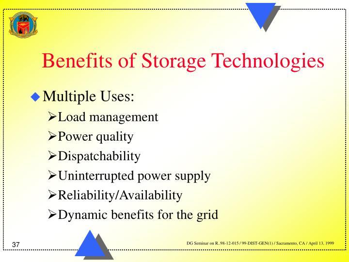 Benefits of Storage Technologies