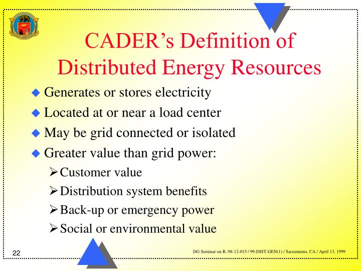 CADER's Definition of Distributed Energy Resources