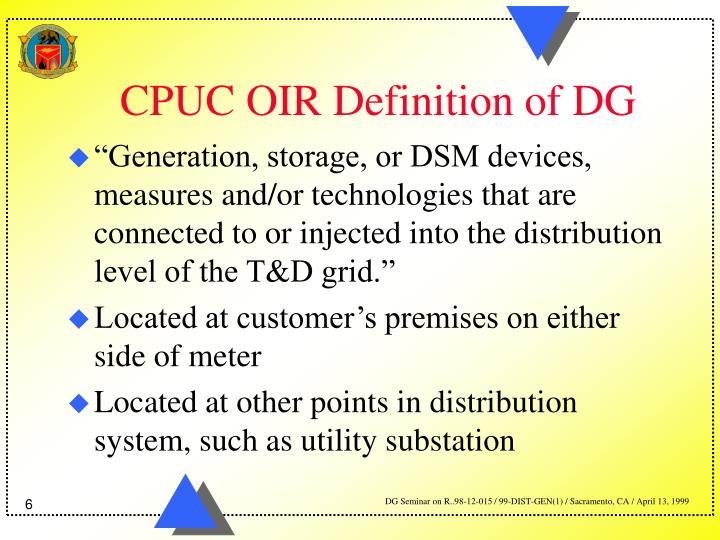 CPUC OIR Definition of DG