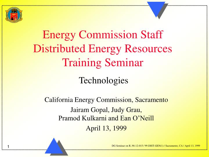 energy commission staff distributed energy resources training seminar n.