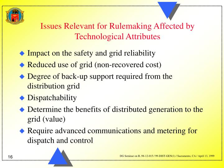 Issues Relevant for Rulemaking Affected by Technological Attributes