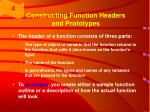 constructing function headers and prototypes