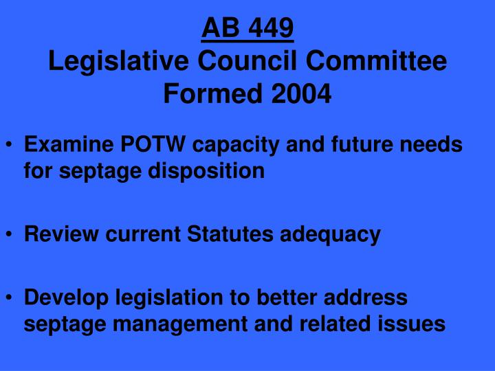 Ab 449 legislative council committee formed 2004