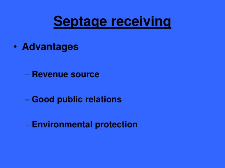 Septage receiving