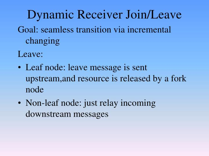 Dynamic Receiver Join/Leave