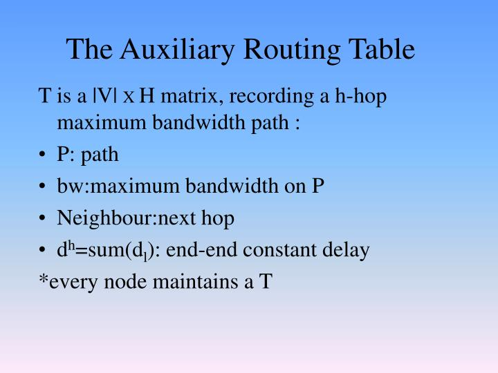 The Auxiliary Routing Table