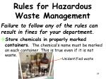 rules for hazardous waste management