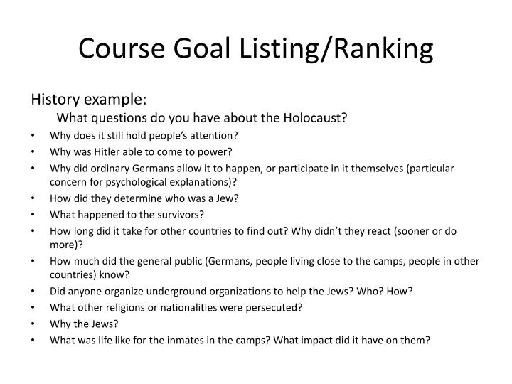 Course Goal Listing/Ranking
