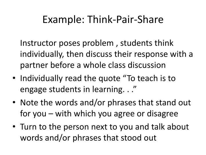 Example: Think-Pair-Share