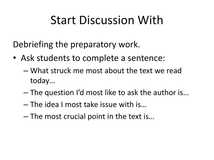 Start Discussion With